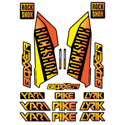 Set Stickere Furca RockShox Pike / Lyrik / Yari / Boxxer Orange/Yellow Gradient