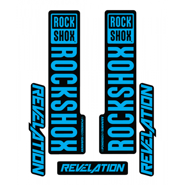 Stickere RockShox Revelation V1 Decal Kit Black/Cyan
