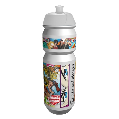 Bidon RIESEL - Stickerbomb Alb 750mL